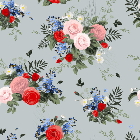 Seamless floral pattern with roses on light  background Çizim