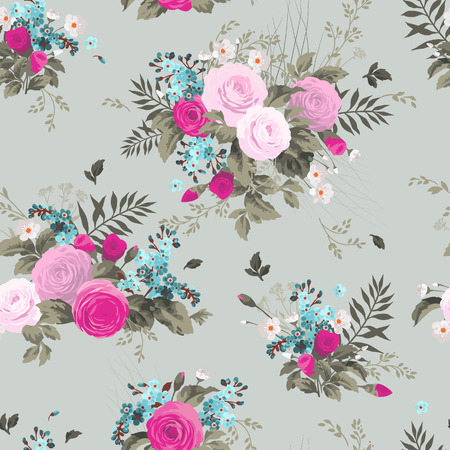 Seamless floral pattern with roses on light  background Stock Illustratie