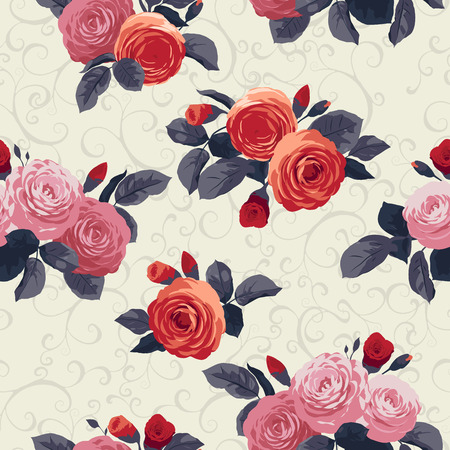 soulful: Seamless floral pattern with roses and ornament on light background
