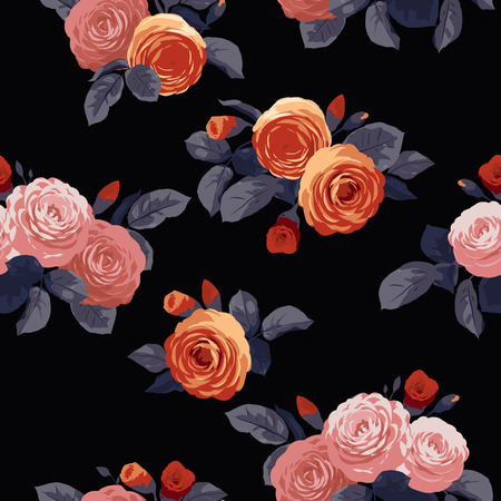 soulful: Seamless floral pattern with roses on black background