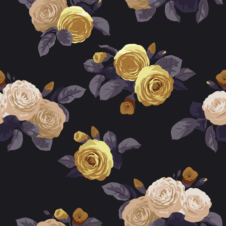Seamless floral pattern with roses on black background