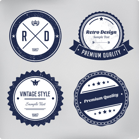 Retro logo elements set. Collection of vector vintage labels. Çizim