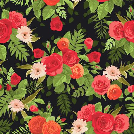 rosas naranjas: Modelo floral inconsútil con rosas de color naranja y rojo sobre fondo oscuro. Ilustración del vector.