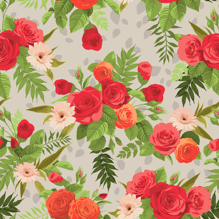 Seamless floral pattern with orange and red roses on light background. Vector illustration.