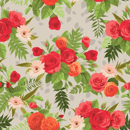 Naadloos bloemenpatroon met oranje en rode rozen op lichte achtergrond. Vector illustratie. Stock Illustratie