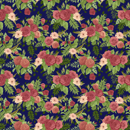 Seamless floral pattern with orange and red roses on dark background. Vector illustration.
