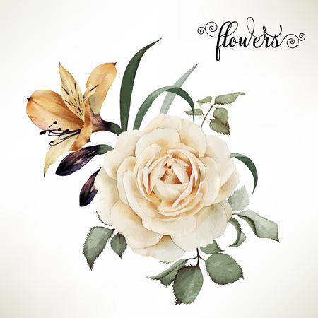 and bouquet: Bouquet di rose, acquerello, pu� essere utilizzato come biglietto di auguri, carta di invito per il matrimonio, compleanno e altre vacanze e estate sfondo. Vettore.