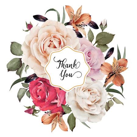 blanc: Carte de voeux avec des roses, aquarelle, peut être utilisé comme carte d'invitation pour le mariage, anniversaire et un autre jour férié et le fond de l'été. Vector illustration. Illustration