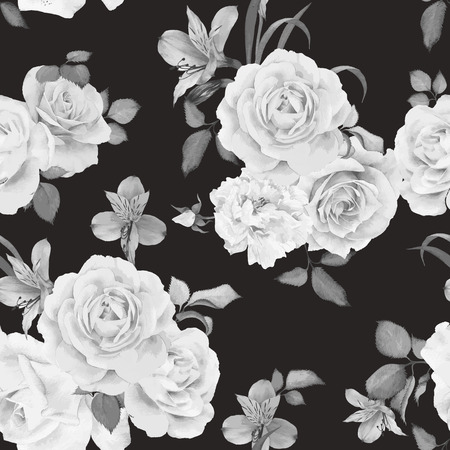 Seamless floral pattern with roses, watercolor. Vector illustration. Illustration