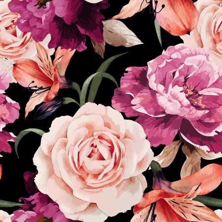 pretty: Seamless floral pattern with roses, watercolor. Vector illustration. Illustration