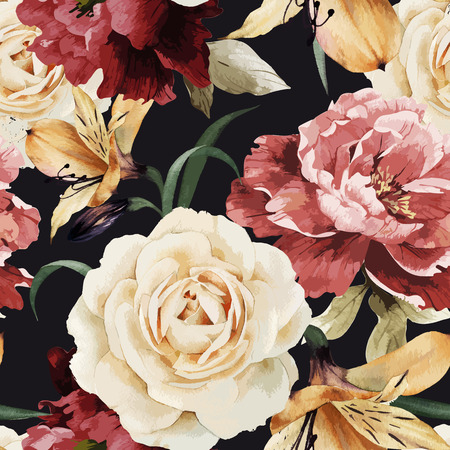 Seamless floral pattern with roses, watercolor. Vector illustration. Ilustrace