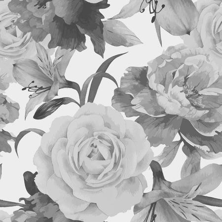 Sin fisuras patrón floral con rosas, acuarela. Ilustración del vector. Foto de archivo - 42138501