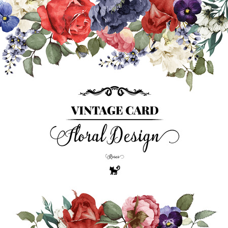 border: Greeting card with roses, watercolor, can be used as invitation card for wedding, birthday and other holiday and  summer background. Vector illustration.