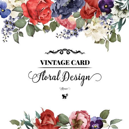 ročník: Přání s růžemi, akvarel, lze použít jako pozvánka na svatbu, narozeniny a jiné dovolenou a letní pozadí. Vektorové ilustrace.