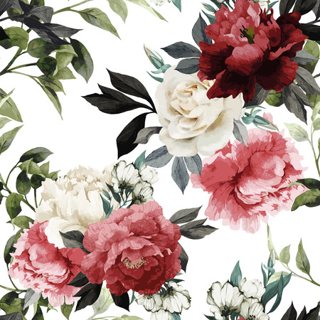 Seamless floral pattern with roses, watercolor. Vector illustration. Stock Photo