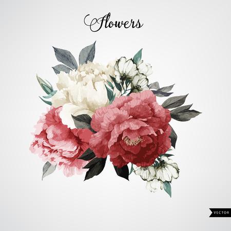 Blumenstrauß aus Rosen, Aquarell, kann als Grußkarte, Einladungskarte für Hochzeit, Geburtstag und andere Ferien und Sommer Hintergrund verwendet werden. Vector. Standard-Bild - 42138503