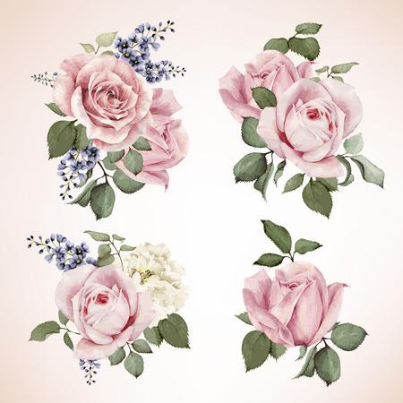 Conjunto de ramos de rosas, acuarela, se puede utilizar como tarjeta de felicitación, tarjeta de invitación para la boda, cumpleaños y otro día de fiesta y el fondo de verano. Vector.