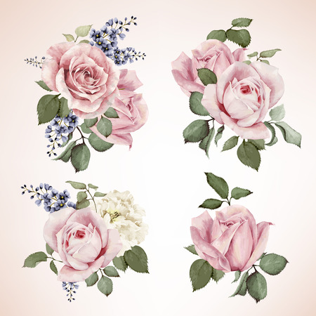postcard background: Set of bouquets of roses, watercolor, can be used as greeting card, invitation card for wedding, birthday and other holiday and  summer background. Vector.