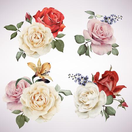 dessin fleur: Ensemble de bouquets de vecteur de roses, aquarelle, peut être utilisé comme carte de voeux, carte d'invitation pour le mariage, anniversaire et un autre jour férié et le fond de l'été. Illustration