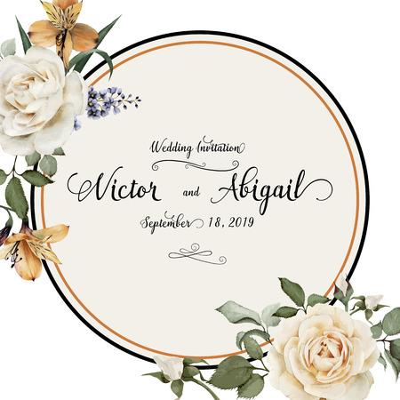 장미, 수채화 인사말 카드, 결혼식, 생일 및 다른 휴일과 여름 배경 초대 카드로 사용할 수 있습니다. 벡터 일러스트 레이 션. 일러스트