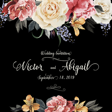 Greeting card with roses, watercolor, can be used as invitation card for wedding, birthday and other holiday and  summer background. Vector illustration.