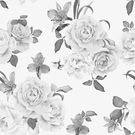 vintage rose: Seamless floral pattern with roses, watercolor. Vector illustration. Illustration