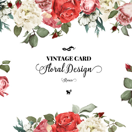 cute border: Greeting card with roses, watercolor, can be used as invitation card for wedding, birthday and other holiday and  summer background. Vector illustration.