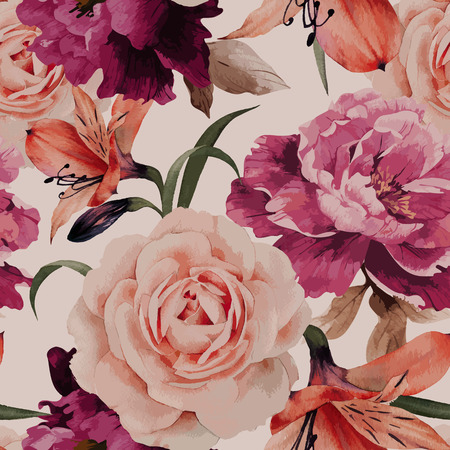 botanical: Seamless floral pattern with roses, watercolor. Vector illustration. Illustration