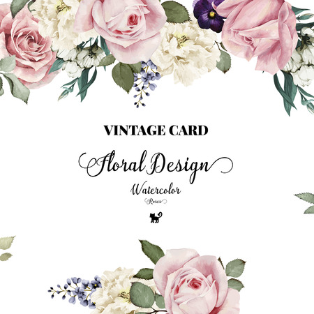 Greeting card with roses, watercolor, can be used as invitation card for wedding, birthday and other holiday and  summer background. Vector illustration. Stock Photo