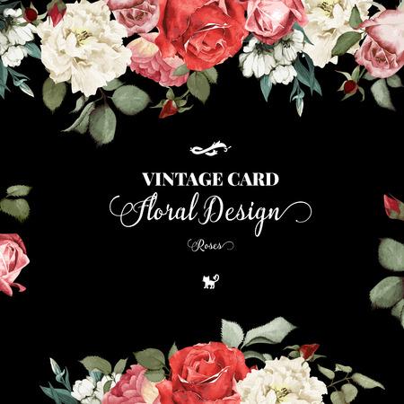 Tarjeta de felicitación con rosas, acuarela, se puede utilizar como tarjeta de invitación para la boda, cumpleaños y otras fiestas y el verano de fondo. Ilustración del vector. Foto de archivo - 42138518
