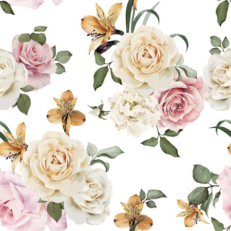 white flowers: Seamless floral pattern with roses, watercolor. Vector illustration. Illustration