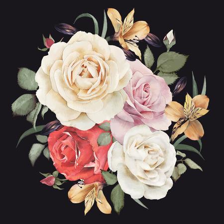 Carte de voeux avec des roses, aquarelle, peut être utilisé comme carte d'invitation pour le mariage, anniversaire et un autre jour férié et le fond de l'été. Vector illustration. Banque d'images - 42138562