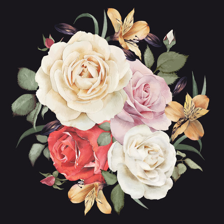 tarjeta de invitacion: Tarjeta de felicitación con rosas, acuarela, se puede utilizar como tarjeta de invitación para la boda, cumpleaños y otras fiestas y el verano de fondo. Ilustración del vector.