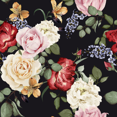 Seamless floral pattern with roses, watercolor. Vector illustration. Çizim