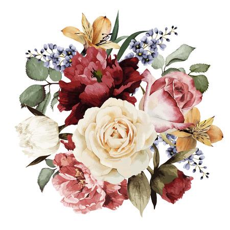 flores de cumplea�os: Tarjeta de felicitaci�n con rosas, acuarela, se puede utilizar como tarjeta de invitaci�n para la boda, cumplea�os y otras fiestas y el verano de fondo. Ilustraci�n del vector.