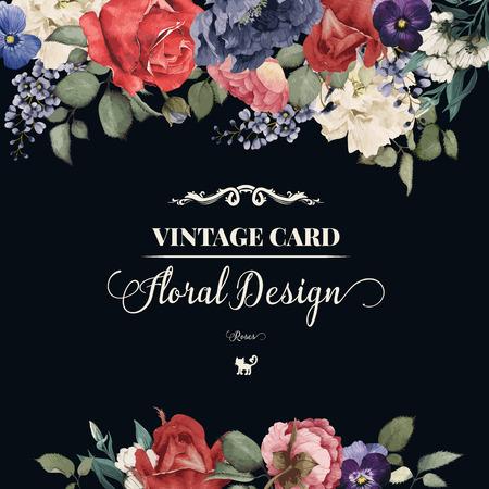 Cartão com rosas, aquarela, pode ser usado como cartão de convite de casamento, aniversário e outros antecedentes de férias e verão. Ilustração vetorial. Foto de archivo - 42138568