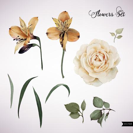 Bloemen en bladeren, waterverf, kan worden gebruikt als wenskaart, uitnodigingskaart voor huwelijk, verjaardag en andere vakantie en zomer achtergrond. Vector illustratie.