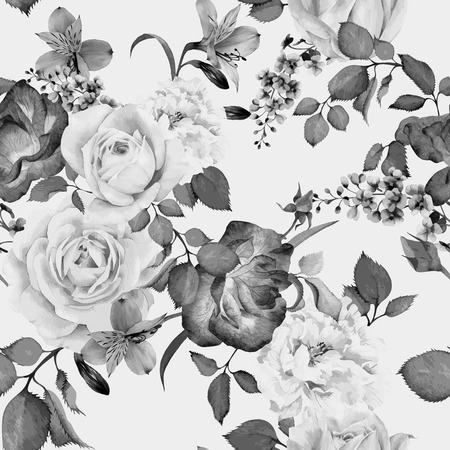 Seamless floral pattern with roses, watercolor. Vector illustration. Banco de Imagens - 42138563