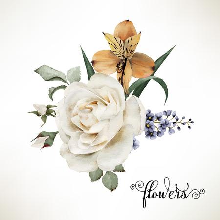 Boeket rozen, aquarel, kan worden gebruikt als wenskaart, uitnodigingskaart voor huwelijk, verjaardag en andere vakantie en zomer achtergrond. Vector. Stock Illustratie