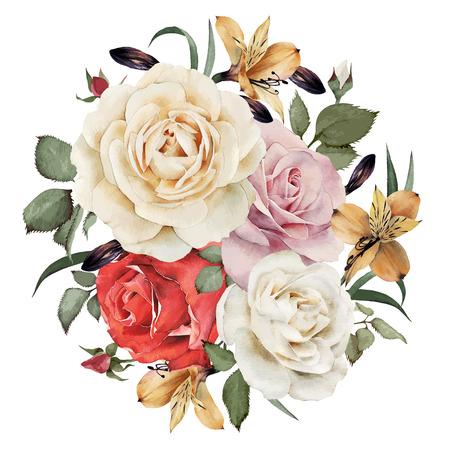 ilustracion: Tarjeta de felicitación con rosas, acuarela, se puede utilizar como tarjeta de invitación para la boda, cumpleaños y otras fiestas y el verano de fondo. Ilustración del vector.