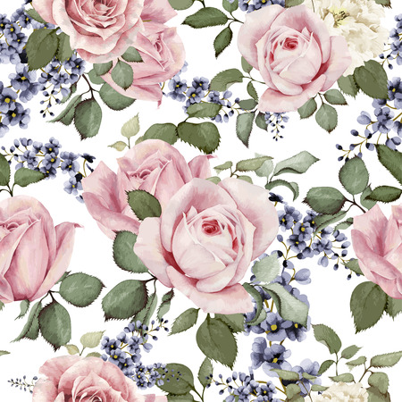romantic: Seamless floral pattern with roses, watercolor. Vector illustration. Illustration