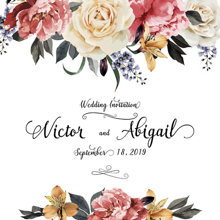 greetings from: Greeting card with roses, watercolor, can be used as invitation card for wedding, birthday and other holiday and  summer background. Vector illustration.