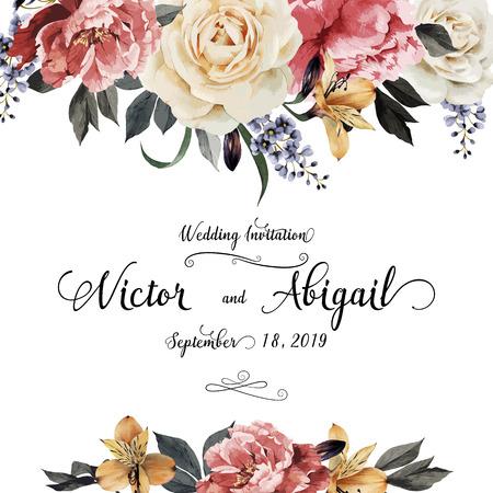 jardines con flores: Tarjeta de felicitación con rosas, acuarela, se puede utilizar como tarjeta de invitación para la boda, cumpleaños y otras fiestas y el verano de fondo. Ilustración del vector.