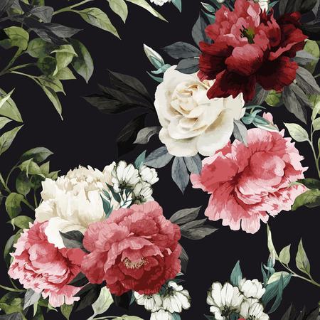 Seamless floral pattern avec des roses, aquarelle. Vector illustration. Vecteurs