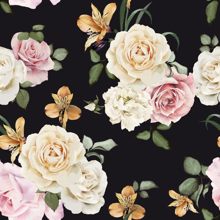 arrangement: Seamless floral pattern with roses, watercolor. Vector illustration. Illustration