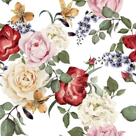blumen abstrakt: Nahtloses Blumenmuster mit Rosen, Aquarell. Vektor-Illustration. Illustration