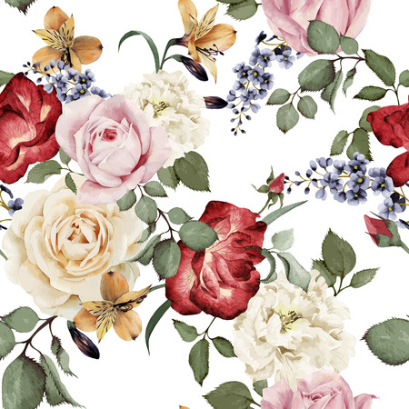 flower arrangement: Seamless floral pattern with roses, watercolor. Vector illustration. Illustration