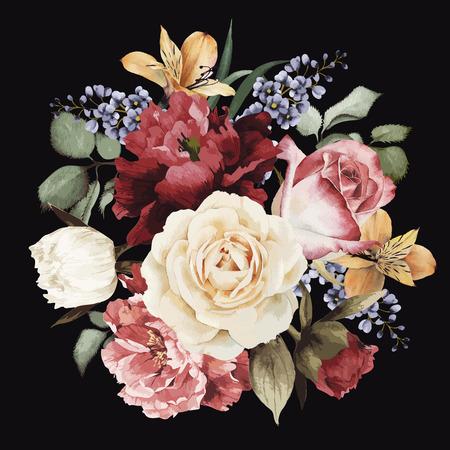 Tarjeta de felicitación con rosas, acuarela, se puede utilizar como tarjeta de invitación para la boda, cumpleaños y otras fiestas y el verano de fondo. Ilustración del vector.