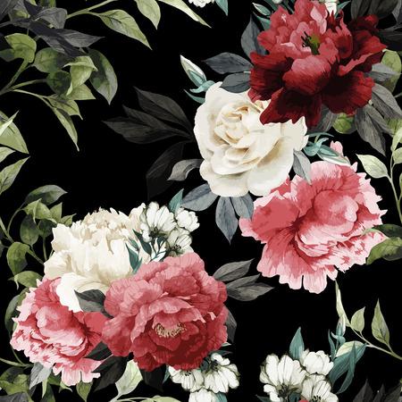 バラ、水彩でシームレスな花柄。ベクトルの図。  イラスト・ベクター素材