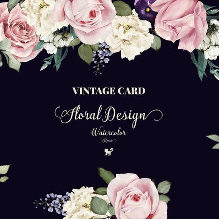 Cartolina d'auguri con le rose, acquerello, può essere usato come carta di invito per il matrimonio, compleanno e altre vacanze e estate sfondo. Illustrazione vettoriale. Archivio Fotografico - 42138589